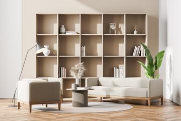Fototapeta Bright contemporary living room interior with wooden bookshelf obraz