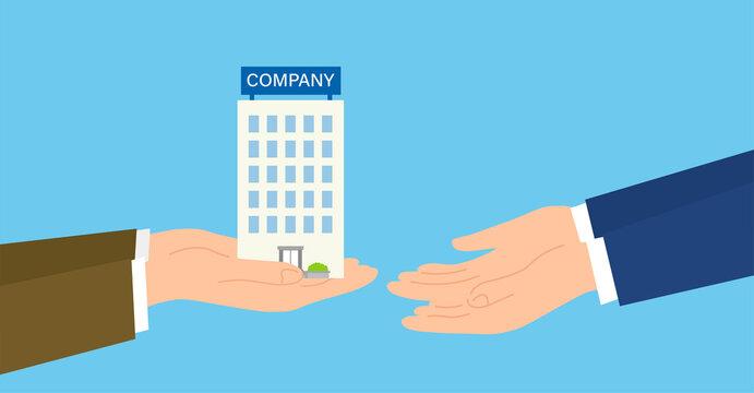 会社を受け渡す手、事業継承・事業承継のイラストイメージ、ベクターイラストレーション