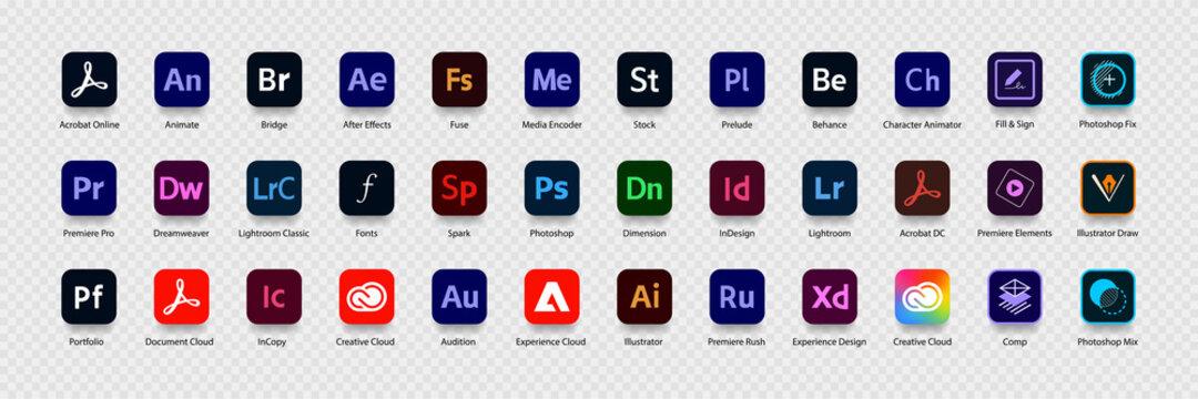 Adobe Products: Acrobat, Bridge, After Effects, Stock, Illustrator, Photoshop, InDesign, Premiere Pro, Behance, Lightroom, Creative Cloud etc. Vector illustration. Kyiv, Ukraine - April 4, 2021