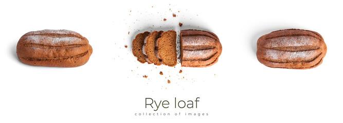 Fototapeta Rye loaf isolated on a white background.