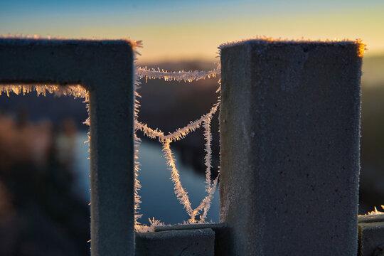 Spinnennetz Eiskristalle