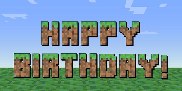 happy birthday pixel style