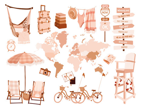 travelling on the sea equipment set. Rose gold map of the world, luggage, bicycles, road signs, chaise lounges, umbrellas, lifeguard stand, hammock, bathing suit, beach towel, sunbeams, lawn chairs