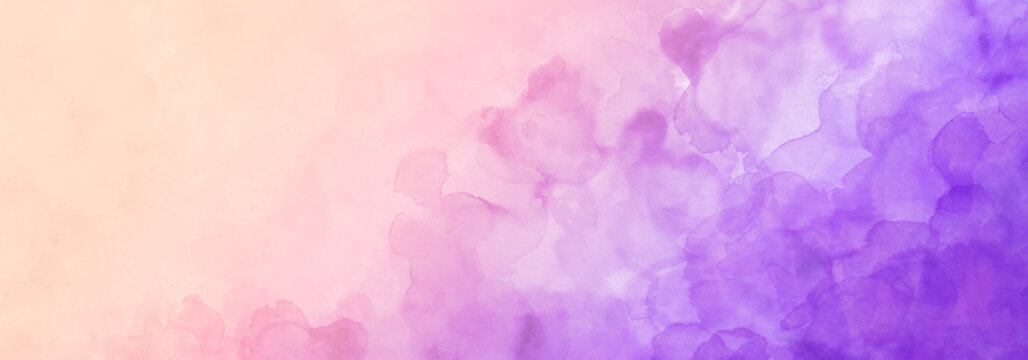Colorful watercolor background in purple pink and yellow sunset colors with border texture of watercolor blotches and blobs
