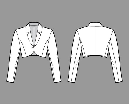 Bolero jacket technical fashion illustration with crop waist length, long sleeves, notched collar, button closure. Flat blazer template front, back, white color style. Women, men unisex top CAD mockup