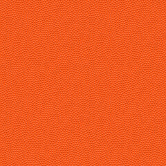 Vector seamless texture of basketball ball. Realistic pattern of synthetic leather with chaotic dots. Orange sports background. Square empty surface with repeating bumps.