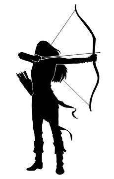 woman archer warrior silhouette