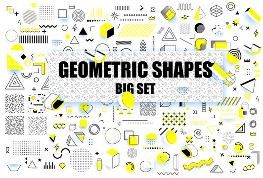 Abstract  modern geometric shapes. Universal trend memphis style graphic symbols. Trendy graphic element. Different shape funky graphic silhouette for design. Vector illustration