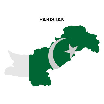 maps of Pakistan with national flags icon vector sign symbol