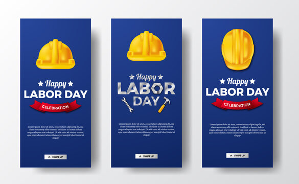 Social media stories banner for labor day with 3d safety helmet worker with blue background