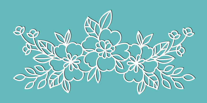 Floral element for cutting and decoration. Template for cutting paper, plotter or laser cutting.