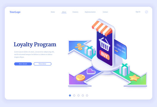 Loyalty program isometric landing page. Service application for online shopping with bonus points, credit card in store smartphone, gift boxes, bag on screen and golden stars, 3d vector web banner
