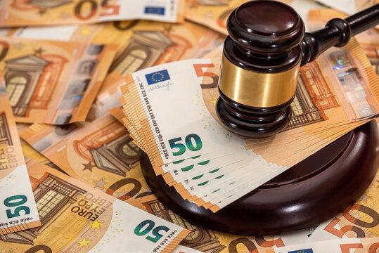 judge hammer gavel on 50 Euro banknotes