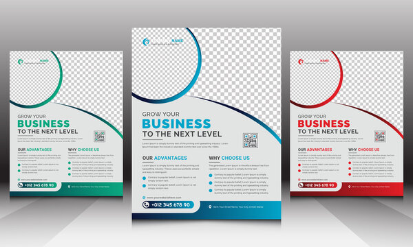 Unique Modern Business Corporate Flyer Leaflet Vector Template Design with Creative Round Shapes