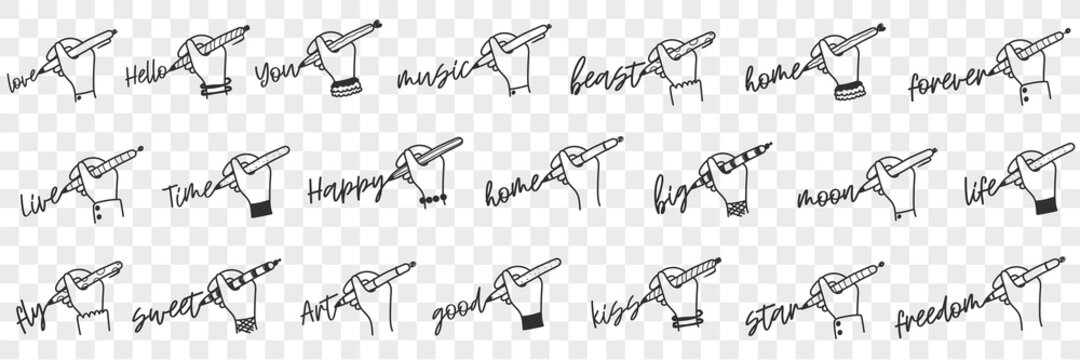 Writing human hand doodle set. Collection of hand drawn human hand writing various words love freedom you forever good sweet fly happy art home time live hello isolated on transparent background