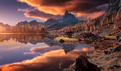 Fototapeta Fantastic Wild nature scenery of Dolomites Alps. Mountain landscape with perfect reflection, picturesque mountain lake in the summer morning. Beautiful landscape background. Federa lake. Dolomiti.