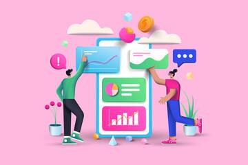 Fototapeta 3D Data Analysis, business, finance and mobile web design concept, user interface optimization. 3D vector illustration obraz