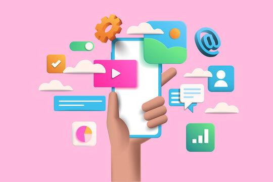 3D Handhold phone mobile app development, application building, app testing, UI-UX and web design. Abstract 3d object background. 3d Vector illustration