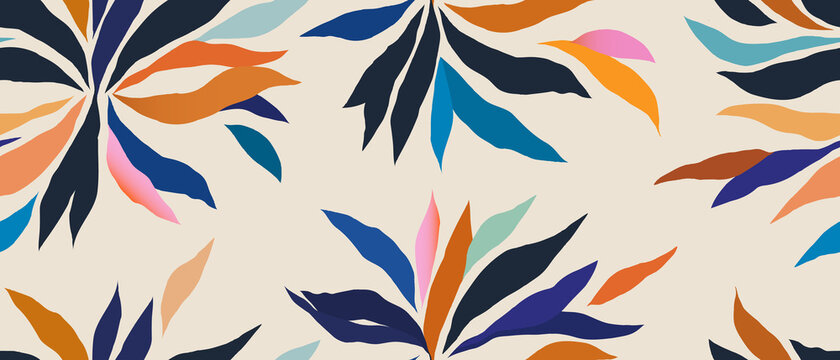 Hand drawn contemporary floral print. Creative colorful seamless pattern. Fashionable template for design.