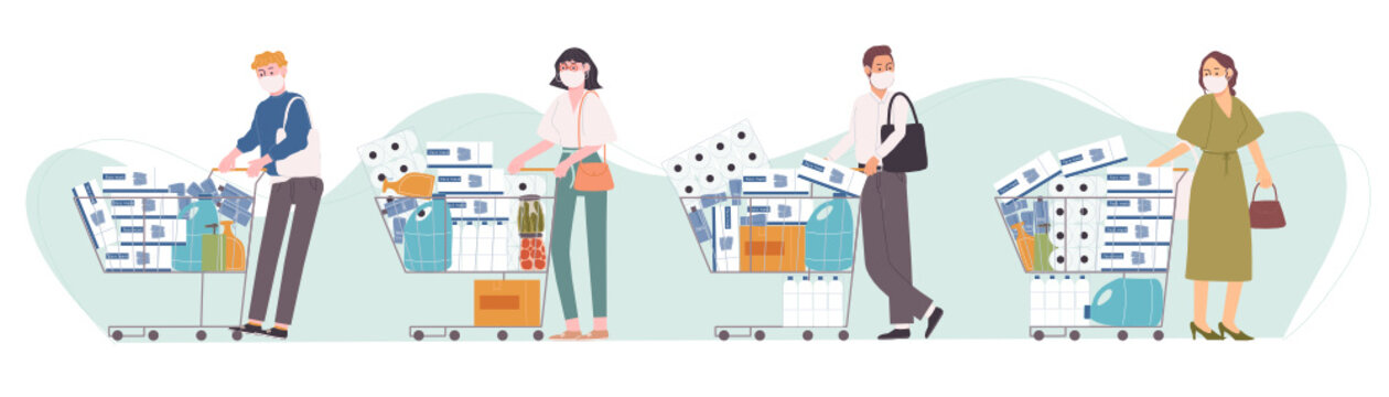 Flat style vector illustration of cartoon character people in face mask are panic shopping. Supplies, alcohol gel, face mask, cleaning liquid, tissue paper store up. Corona virus affection.