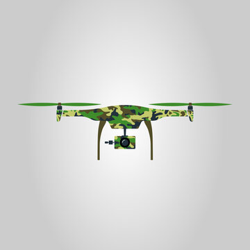 Green and brown camouflage pattern drone