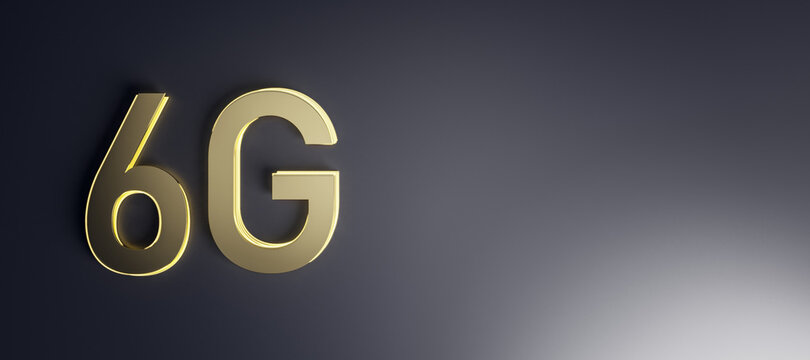 New generation communication concept with blank dark wallpaper and golden 6G icon. 3D rendering, mock up