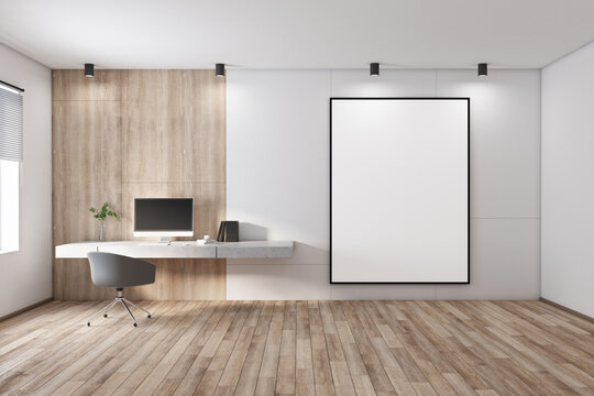 Blank white poster in black picture frame on light wall in stylish spacious room with modern workplace and window. 3D rendering, mock up