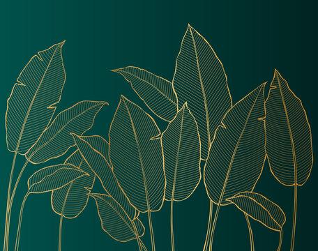 Luxury golden tropical plants. Vector Illustration.
