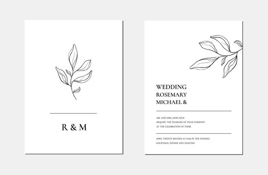 Botanical line art minimalist floral wedding invitation card template. Hand drawn black leaves sketch. Vector illustration wedding layout design