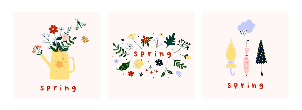 Spring mood greeting card poster template. Welcome spring season invitation. Minimalist postcard with nature leaves, watering can, flowers umbrellas. Vector illustration in flat cartoon style