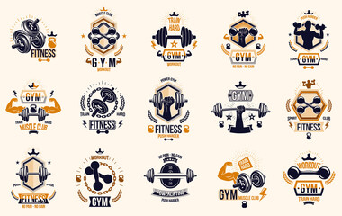 Fitness sport emblems logos or posters with barbells dumbbells kettlebells and muscle man silhouettes vector set, athletic workout active lifestyle theme, sport club or competition awards. - fototapety na wymiar