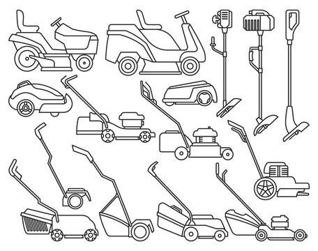 Lawn mower vector illustration on white background. Isolated outline set icon lawnmower. Vector outline set icon lawn mower.
