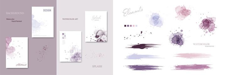 Set of watercolor splash blot and brush strokes