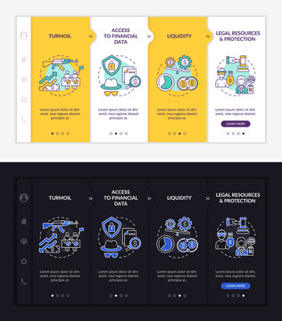 Worldwide asset issues onboarding vector template. Responsive mobile website with icons. Web page walkthrough 4 step screens. Liquidity, protection night and day mode concept with linear illustrations