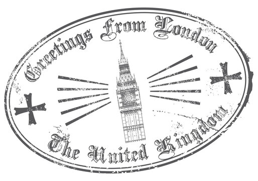 Greetings From London. Vector Rubber Stamp.