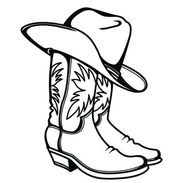Cowboy boots and western hat. Vector graphic hand drawn illustration rodeo cowboy clothes isolated on white for print or design