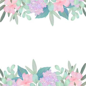 優しい色使いの北欧風オシャレなアジサイと植物の白バックフレームイラスト素材