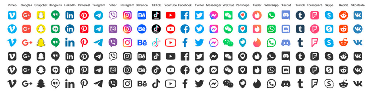 Big set of social media logos in different styles and shapes