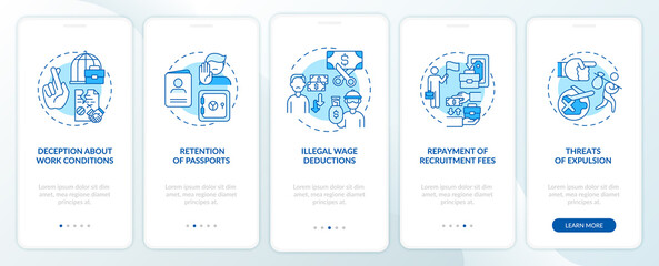 Fototapeta Migrant workers right violations, abuse blue onboarding mobile app page screen with concepts. Work walkthrough 5 steps graphic instructions. UI, UX, GUI vector template with linear color illustrations obraz