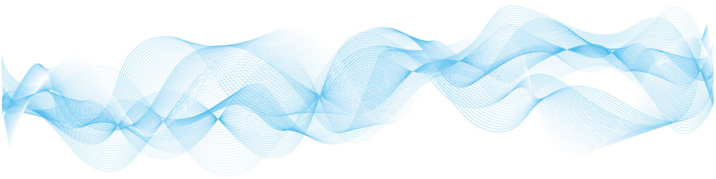 abstract vector blue wave melody lines on white background