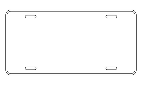 Blank license plate template. Clipart image
