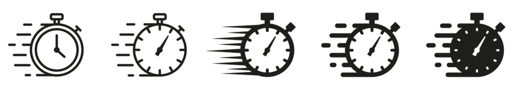 Set of Timer icons. Quick time icon, fast deadline. Timer and stopwatch icons. Rapid line symbol. Countdown timer collection.