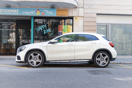 SABADELL, SPAIN-APRIL 4, 2021: 2018 Mercedes-Benz GLA 200d (CDI), facelift, First generation (X156), Side view