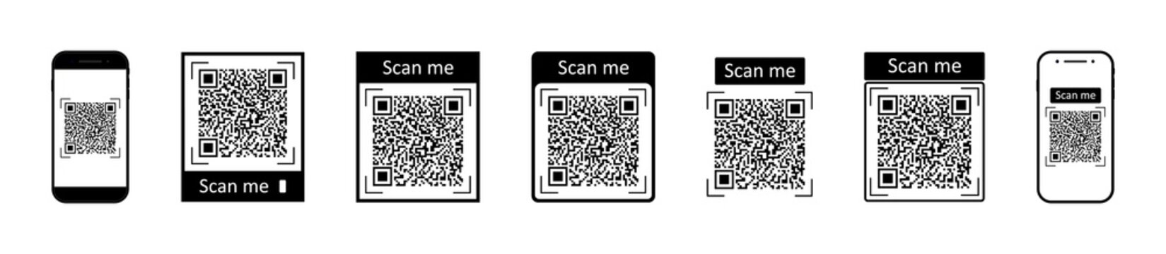QR code for scan with mobile. Icons of barcode for phone scanner. Digital bar of logo with scan to me. Black qrcode for pay on white background. Coupon for discount. Symbol of marketing. Vector