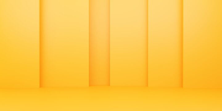 3d rendering of empty yellow orange abstract minimal background. Scene for advertising design, cosmetic ads, show, technology, food, banner, cream, fashion, kid, luxury. Illustration. Product display