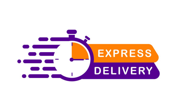 Express delivery service logo. Timer and express delivery inscription. Stopwatch icon for express service. Delivery concept for apps and website. Vector illustration. Flat design