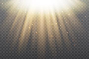 Obraz Golden sun shine, light effect vector illustration. Brigh yellow gold glory sunshine of sunbeams shining in radial flare, magic warm glimmer, energy explosion isolated on transparent dark background - fototapety do salonu