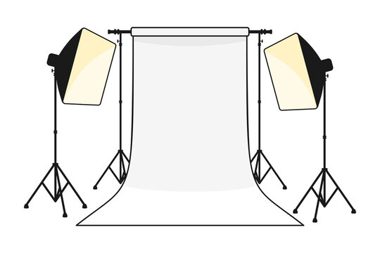 Proffesional photography studio with empty background and softbox light in vector illustration