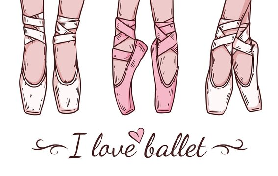Ballerinas foots in pointe shoes with ribbons for ballet dance