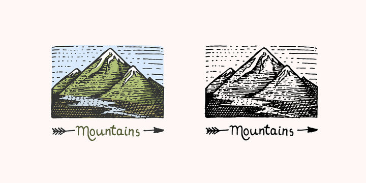 Mountain peaks emblem. Engraved vintage, hand drawn, old, label or badges for camping, hiking, hunting logo, from south to north.